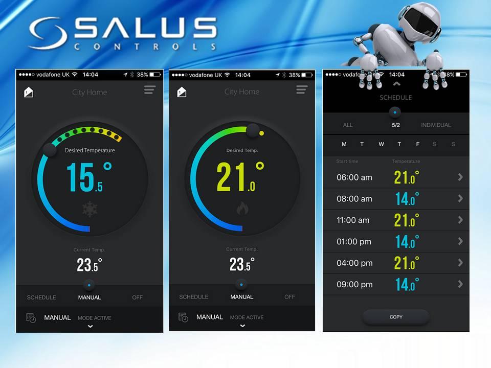 SALUS RT310i,интерфейс управления.