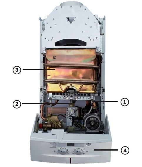 Газовый котел, BOSCH,Gaz 3000 W, двухконтурный с открытой камерой сгорания.