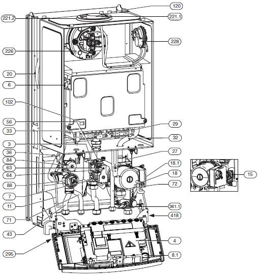 Конструкция котла ,,Bosch ,Gaz 7000 W , ZWC, двухконтурное исполнение.