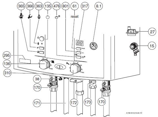 Подключение и управление котла ,Bosch ,Gaz 7000 W .