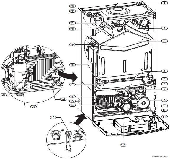 Схема газового котла, BOSCH, Gaz 6000 W.
