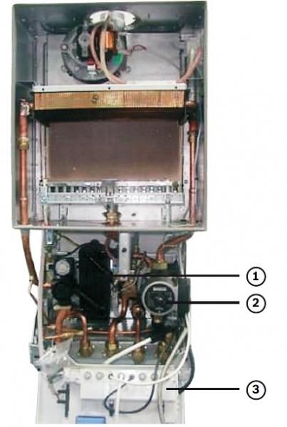 Схема газового котла,Bosch ,Gaz 7000 W ,двухконтурного с закрытой камерой сгорания.