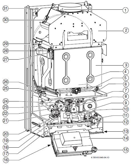 Устройство газового котла, BOSCH, Gaz 4000 W,одно контурный, модели-ZSA.