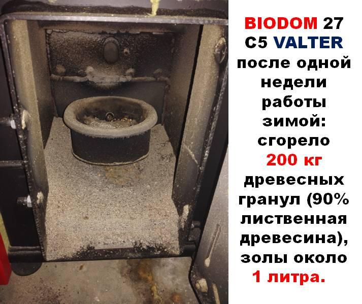 Количество золы в котле Biodom