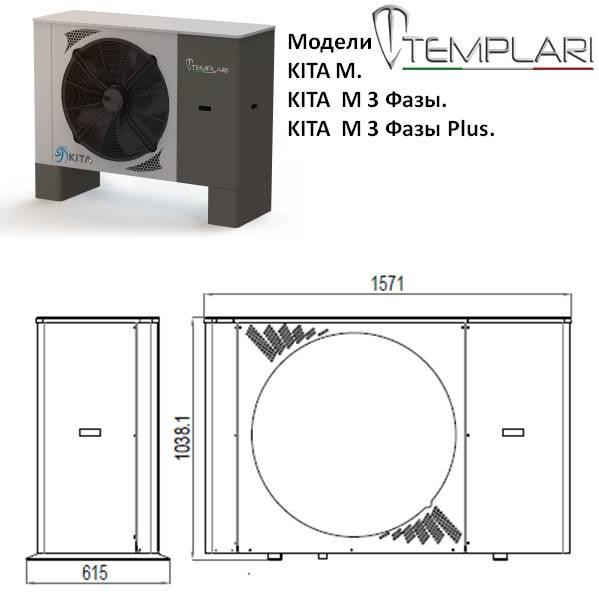 Размеры наружного блока тепловых насосов, Templari , моделей ,KITA M, M 3 Фазы, и М 3фазы Plus ,Наружный блок для сплит систем и моноблок
