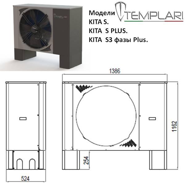 Размеры наружного блока тепловых насосов, Templari , моделей ,KITA S, S PLUS, S3 фазы Plus