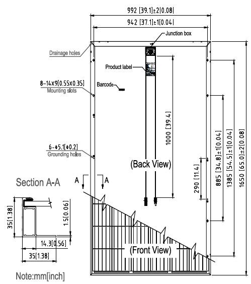 Габаритные размеры ,солнечных батарей SUNTECH, Модели :STP275 - 20/Wfw,STP270 - 20/Wfw,STP265 - 20/Wfw