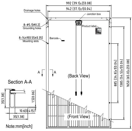 Размеры и характеристики, солнечных батарей SUNTECH, Модели HyPro,STP310S — 20Wfw,STP305S — 20Wfw,STP300S — 20Wfw