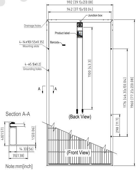 Размеры и характеристики, солнечных батарей SUNTECH, Модели STP330-24Vfw,STP325-24Vfw,STP320-24Vfw