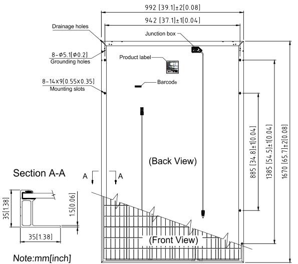 Размеры солнечных батарей SUNTECH, Модели,STP285-20Wfh,STP280-20Wfh,STP275-20Wfh